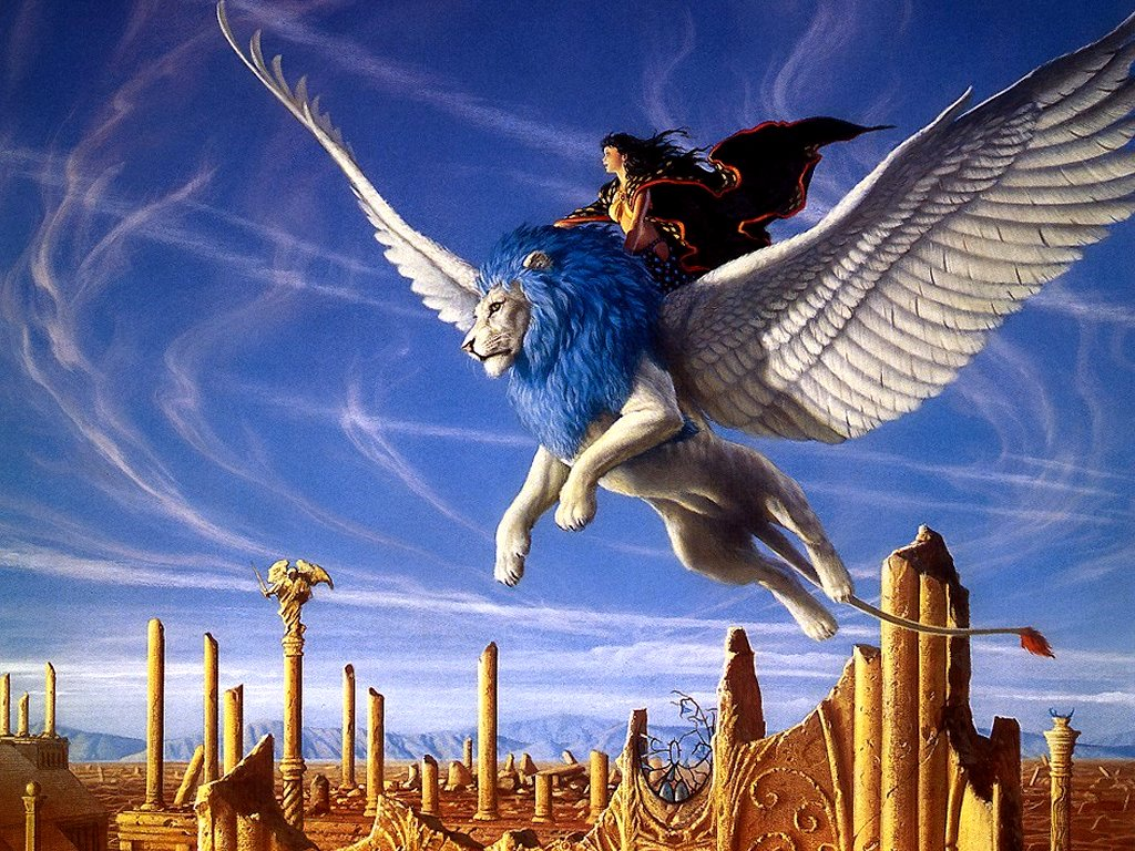 http://fantasy.mrugala.net/Michael%20Whelan/Michael%20Whelan%20-%20Femme%20sur%20lion%20aile.jpg